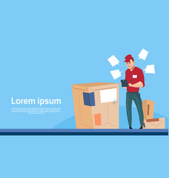 courier man use tablet box delivery package post vector image vector image