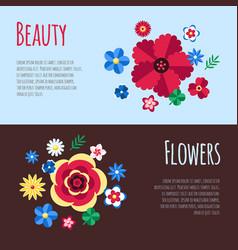digital blue flowers set vector image vector image