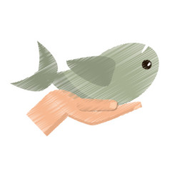 Drawing hand with fish miracle vector