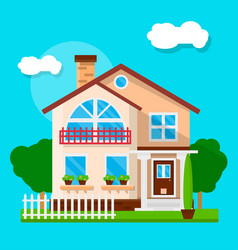 Exterior of suburban house vector