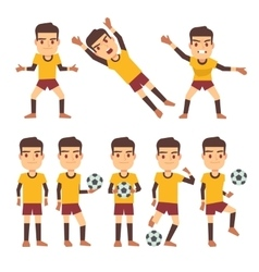 Footballer soccer player goalkeeper in different vector image