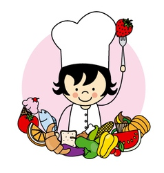 Girl with food healthy vector