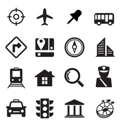 Map icons set vector