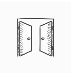 Open doors sketch icon vector image