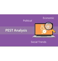 pest analysis concept with laptop and magnifying vector image vector image