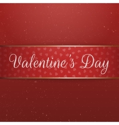 Red and golden ribbon with valentines day text vector