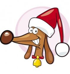 Santa dog vector image vector image