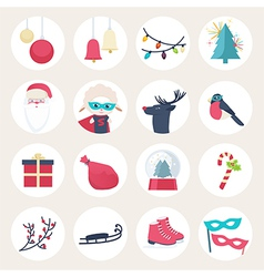 Set of colourful New Year icons vector image vector image