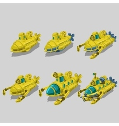Set of six submarine cleaner of garbage vector image vector image