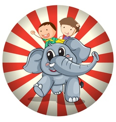 Two kids riding at the back of a gray elephant vector image vector image