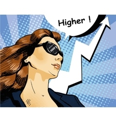 Woman in sunglasses with arrow graph vector