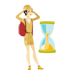 Worried asian traveler woman looking at hourglass vector