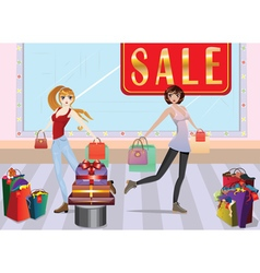 Fashion girls at shopping3 vector