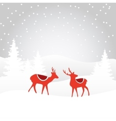 Retro christmas card invitation with reindeer vector