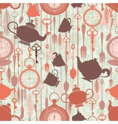 Vintage seamless pattern with tea theme vector image