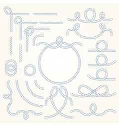 Rope border elements vector