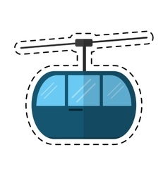 Sky cable car transport mountain cutting line vector