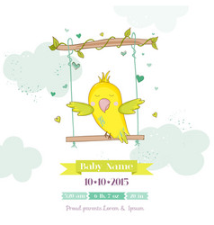 Cute parrot swinging baby shower or arrival card vector