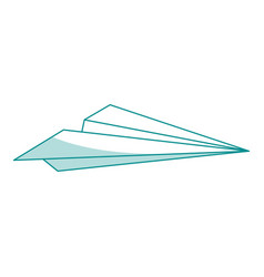 blue silhouette shading airplane of paper toy vector image