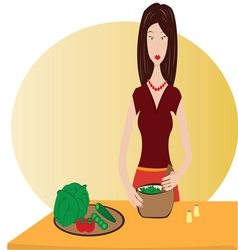 Housewife preparing diner vector image