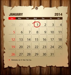 Wood Calendar 2014 Happy new year vector image