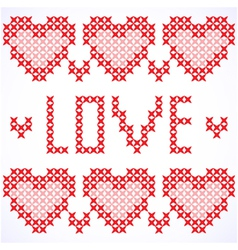 Decorative card with cross-stitched hearts vector