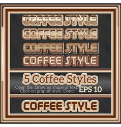 Set of various coffee graphic styles for design vector