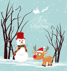 Merry christmas card with snowmans and deer vector