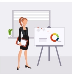 Beautiful young business woman presenting with a vector