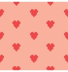 Pixel art heart seamless pattern vector