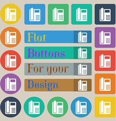 Home phone icon sign set of twenty colored flat vector