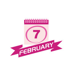7 february calendar with ribbon vector