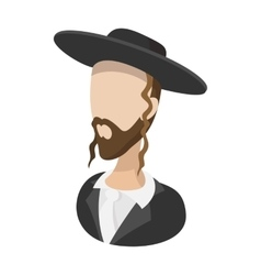 Rabbi cartoon icon vector image