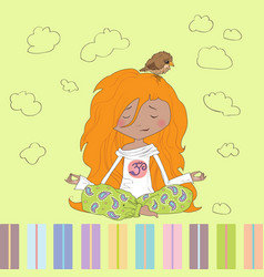 Little girl yoga vector
