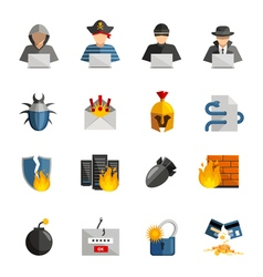Hacker flat color icons set vector
