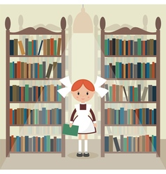 Soviet schoolgirll in library vector
