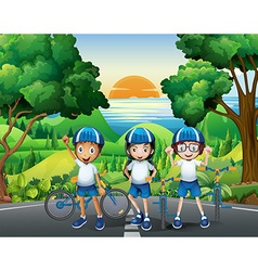 Three kids and their bikes at the park vector image