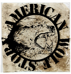 American wolf t shirt graphic design vector