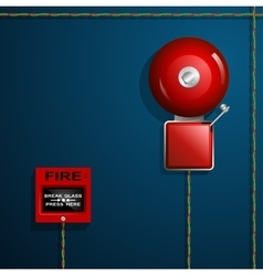 Fire alarm on the wall bell button and wires vector