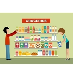 People in a supermarket groceries vector