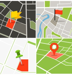 Abstract city map collection with pins vector image vector image