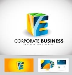 Alphabet letter e corporate business 3d logo icon vector