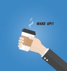 Businessman holding paper cup of coffee with text vector