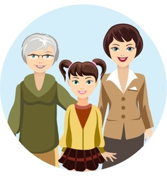 Cartooned Females in Different Ages vector image vector image