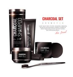 Charcoal cosmetics 3d vector
