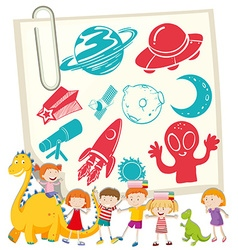 Children and science symbol on notecard vector