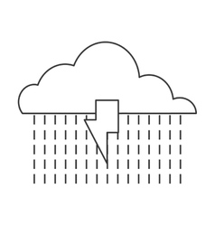 Cloud with lightning ray and rain icon vector