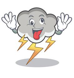 crazy thunder cloud character cartoon vector image