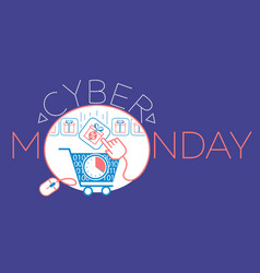 Cyber monday gift cart vector