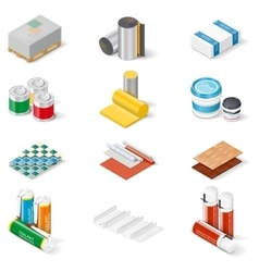 Decoration and insulation materials isometric icon vector